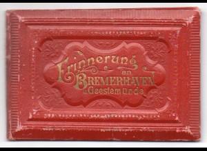 W9W59/ Bremerhaven u. Geestemünde altes Leporello Litho ca.1885