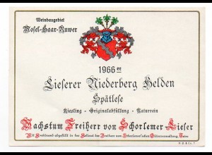 W7M78/ Weinetikette Lieferer Niederberg Helden 1966 Mosel-Saar-Ruwer