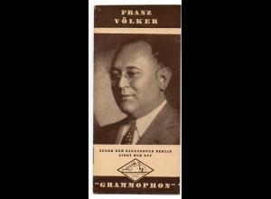 C3649/ Opernsänger Franz Völker auf Grammophon Heft 16 Seiten ca.1935