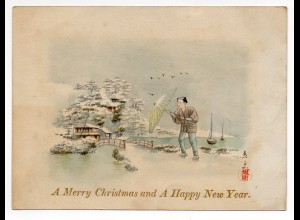 Y13685/ Merry Christmas New Year China 1893 Canton Karte 15 x 11 cm
