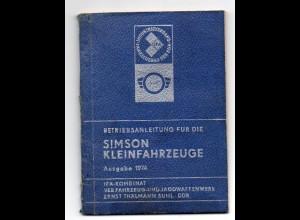 c1172/ Simson Kleinfahrzeuge Betriebsanleitung 1974 Motorrad