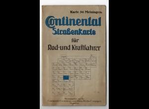 c1165/ Continental Straßenkarte Meiningen für Rad- u. Kraftfahrer ca.1930