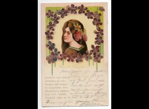 I1761/ Jugendstil hübsche Frau Litho AK Glimmer 1900
