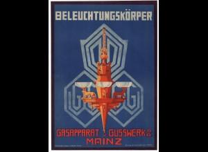 C2349/ Gasapparat v. Gusswerk Mainz Litho Werbeblatt ca.1910 29 x 20,5 cm