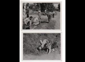 F5910/ Fuchsjagd mit Hund Jäger Jagd 3 Fotos ca. 1950 18 x 13 cm