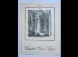 c1143/ Speisekarte Dampfer S.S. America 1964 United States Line Sequoia Trees