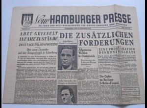 c1215/ Zeitung Neue Hamburger Presse 29.9.45 Bergen Belsen Prozess