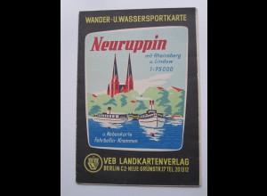 C4433/ Neuruppin Wander- u. Wassersportkarte mit Stadtplan ca.1955-60