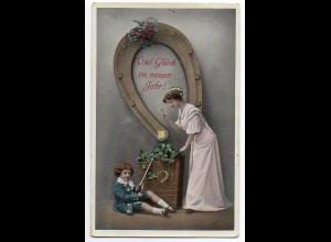 L008/ Neujahr Hufeisen Mutter und Kind AK 1912