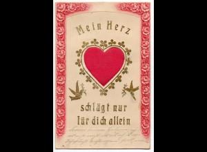 L010/ Mein Herz schlägt nur für dich allein - Herz aus Seide schöne AK ca.1910