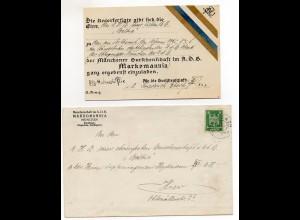 Y1904/ Studentika Einladung + Brief Burschenschaft Markomannia, München 1925