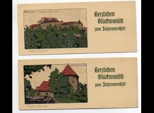 Y621/ Bautzen Neujahr Steinzeichnung Litho Karte 14 x 6 cm