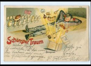 XX15002/ Schönster Traum Soldat träumt Militär Litho AK 1910