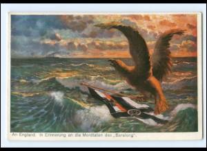 """XX15004/ England Erinnerung a. d. Mordtaten des """"Baralong"""" Marine Adler WK1 AK"""