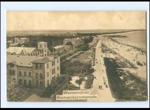 V1886/ Warnemünde Bismarckpromenade 1909 AK