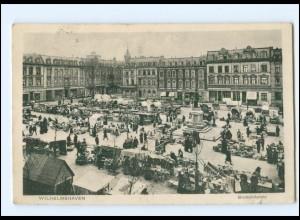 V1912/ Wilhelmshaven Bismarckplatz Marktleben AK 1914
