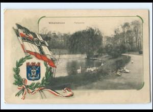 V1913/ Wilhelmshaven Parkpartie Fahnen Wappen 1. Weltkrieg AK 1916