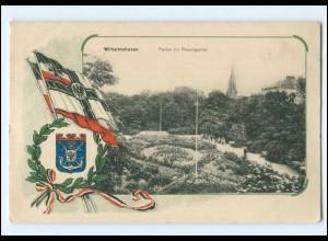 V1914/ Wilhelmshaven Rosengarten Fahnen Wappen 1. Weltkrieg AK 1916