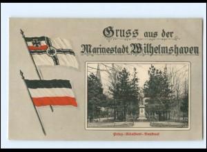 V1915/ Wilhelmshaven Rosengarten Prinz-Adalbert-Denkmal Fahnen 1. Weltkrieg AK