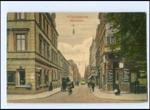V1918/ Wilhelmshaven Marktstraße Straßenbahn AK 1914