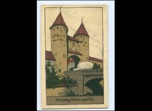 S2982/ Amberg Nabburger Tor Litho Steinzeichnung AK 1912