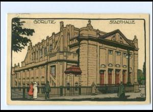 S2943/ Görlitz Stadthalle Steinzeichnung Litho AK 1913