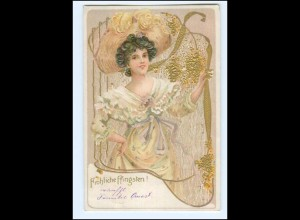 S3002/ Jugendstil Frau mit Hut, schöne Litho Prägedruck AK 1905 Pfingsten
