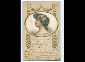 S3003/ Jugendstil junge Frau Seide Prägedruck AK 1907