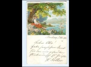 Y20057/ Hänsel und Gretel Märchen-Postkarte No. 6 Litho AK 1901