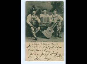 V1934/ I. Innsbrucker Schrammel Terzett AK 1909 Doppelkopf-Gitarre, Geige