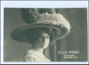 Y20070/ Elly Rossi Gesangs-Soubrette Rückseite mit Widmung Foto AK Frau mit Hut