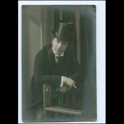 Y20076/ Mann mit Zylinder und Zigarette Foto AK ca.1912