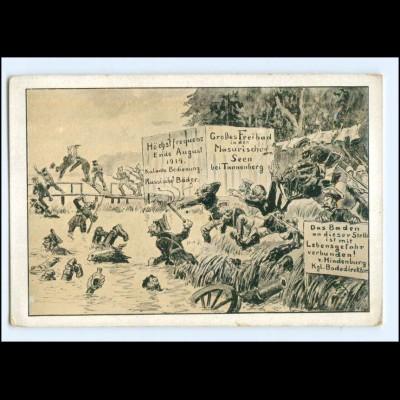 Y20465/ Kriegs-Postkarte Nr.14 Karikaturen 1. Weltkrieg AK Masuren