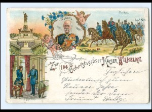 Y20632/ 100. Geburtstagsfeier Kaiser Wilhelm I. Litho AK 1898