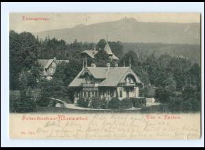 V2006/ Riesengebirge Schreiberhau-Marienthal Villa Rochow AK + Bahnpost 1922