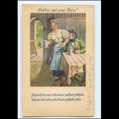 Y20460/ Bayrisch Bier.... Künstler AK Kuderny 1921 Student
