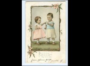 Y20461/ Kinder zwei Mädchen Litho Präge AK 1903