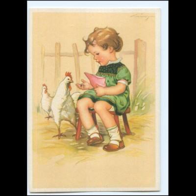 Y20482/ Mädchen und Hühner sign: Lingen AK ca.1940