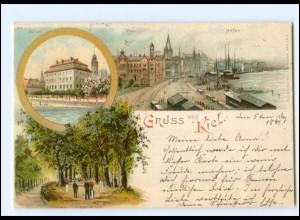 Y20737/ Gruß aus Kiel Litho AK 1897