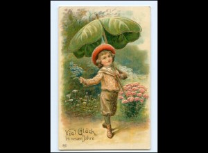 Y20734/ Neujahr Junge mit Schirm Litho Prägedruck AK 1908