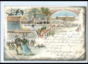 V2068-028/ Gruß aus Görlitz Eislaufen Litho AK 1899 Wintermotiv