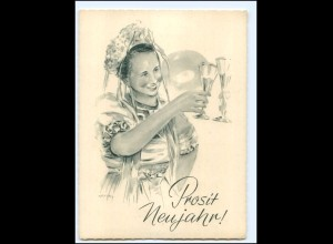 Y20657/ Neujahr Frau trinkt Sekt AK sign: Keffel 50er Jahre