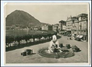 Y20677/ Lugano Quai Autos Foto AK ca.1935 Schweiz