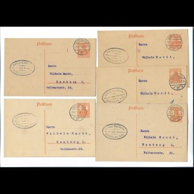 Y20101/ 5 x Postkarte Ganzsache Breslau 1917/18 Werft und Reederei C. Wollheim