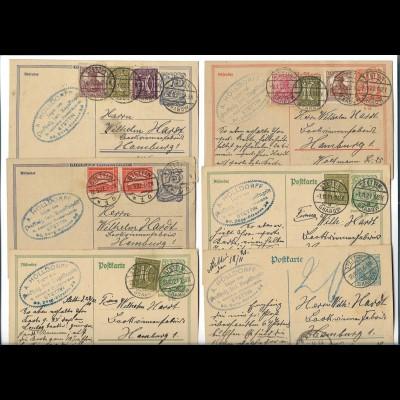 Y20100/ 6 x Postkarte Ganzsache Stettin - Grabow 1921/22 Inflation Pommern