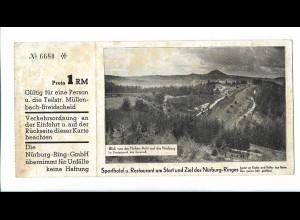 Y20098/ Nürburgring AK und Eintrittskarte für eine Rundfahrt ca.1935