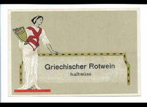 Y20097/ Altes Flaschenetikett Griechischer Rotwein Litho Jugendstil
