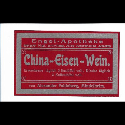 Y20096/ China-Eisen-Verein Medizin Engel-Apotheke, Mindelheim altes Etikett