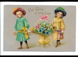 XX15074/ Neujahr Mädchen mit Blumen LItho Glanz AK ca.1910