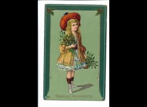 XX15075/ Weihnachten hübsches Mädchen Litho Glanz AK 1912
